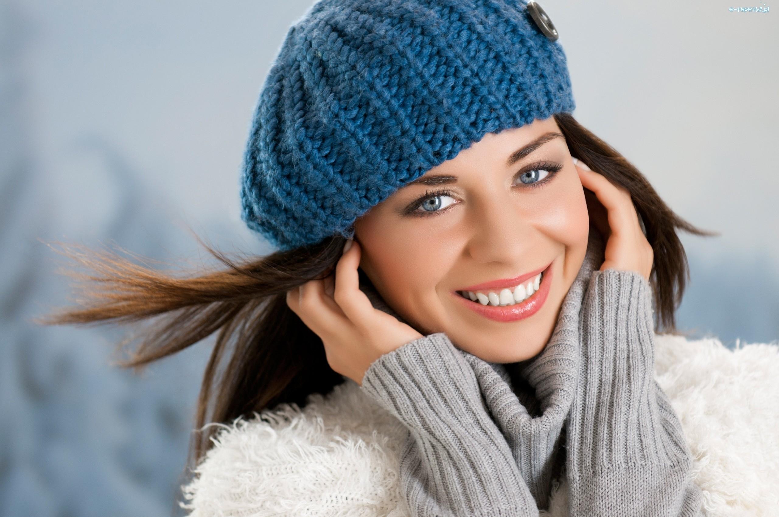 kobieta, makijaż, niebieski, beret