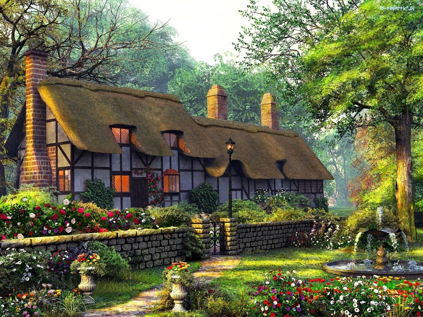 Картинка деревни рисованная