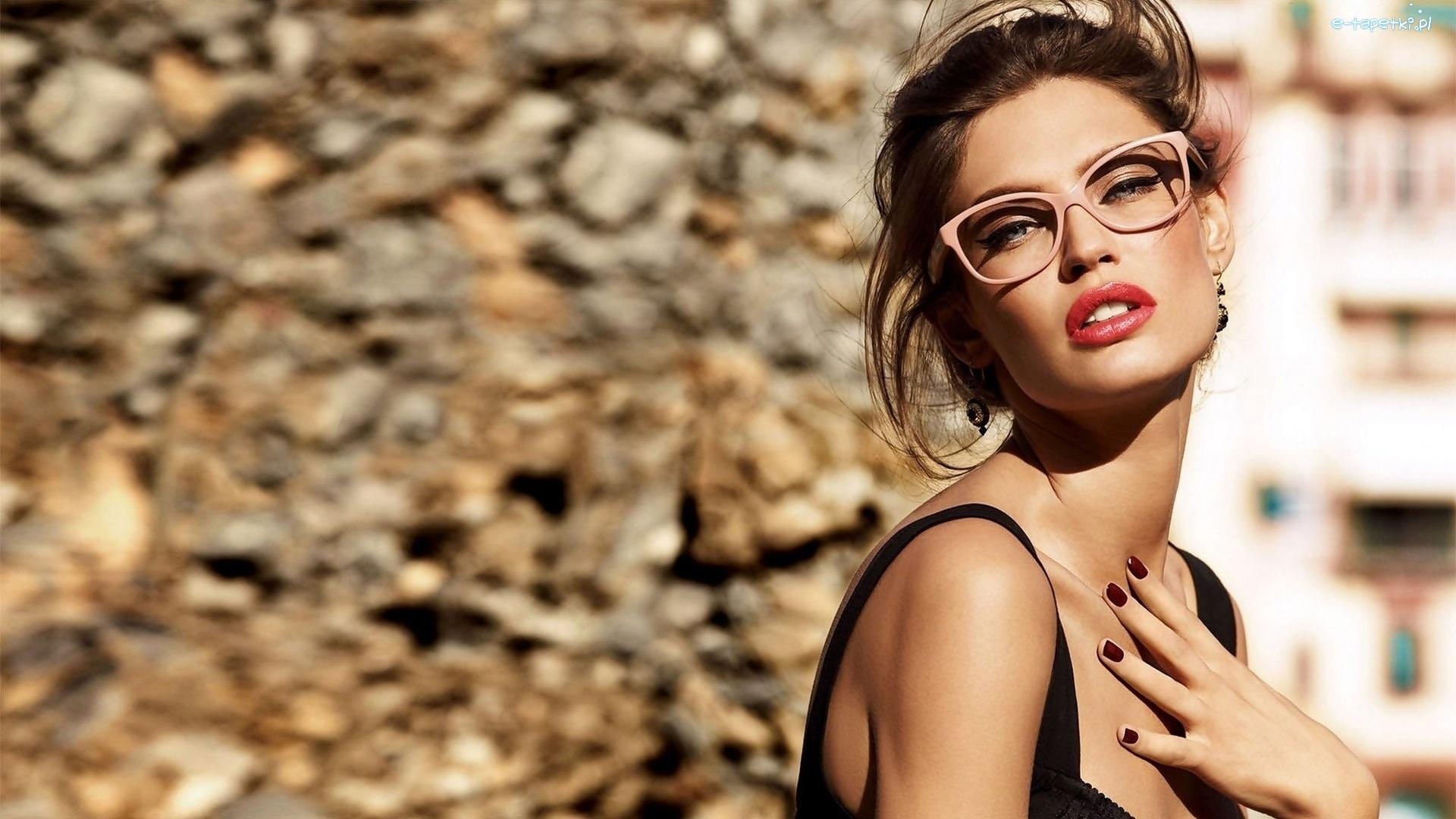 kobieta, makijaż, okulary, lato