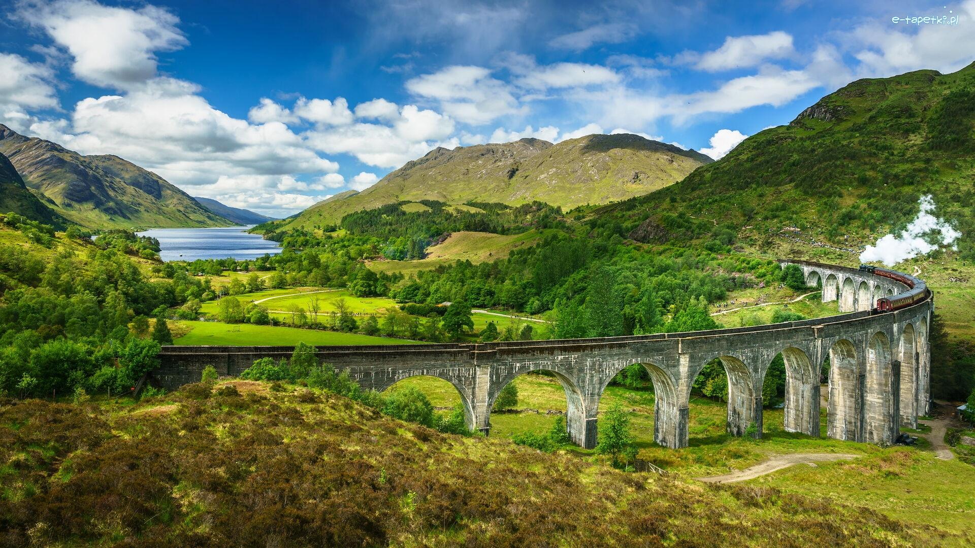 Pociąg, Dolina, Wzgórza, Wiadukt Glenfinnan, Jezioro Shiel ...