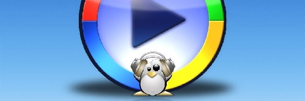 Windows Media Player, play, pingwin, słuchawki