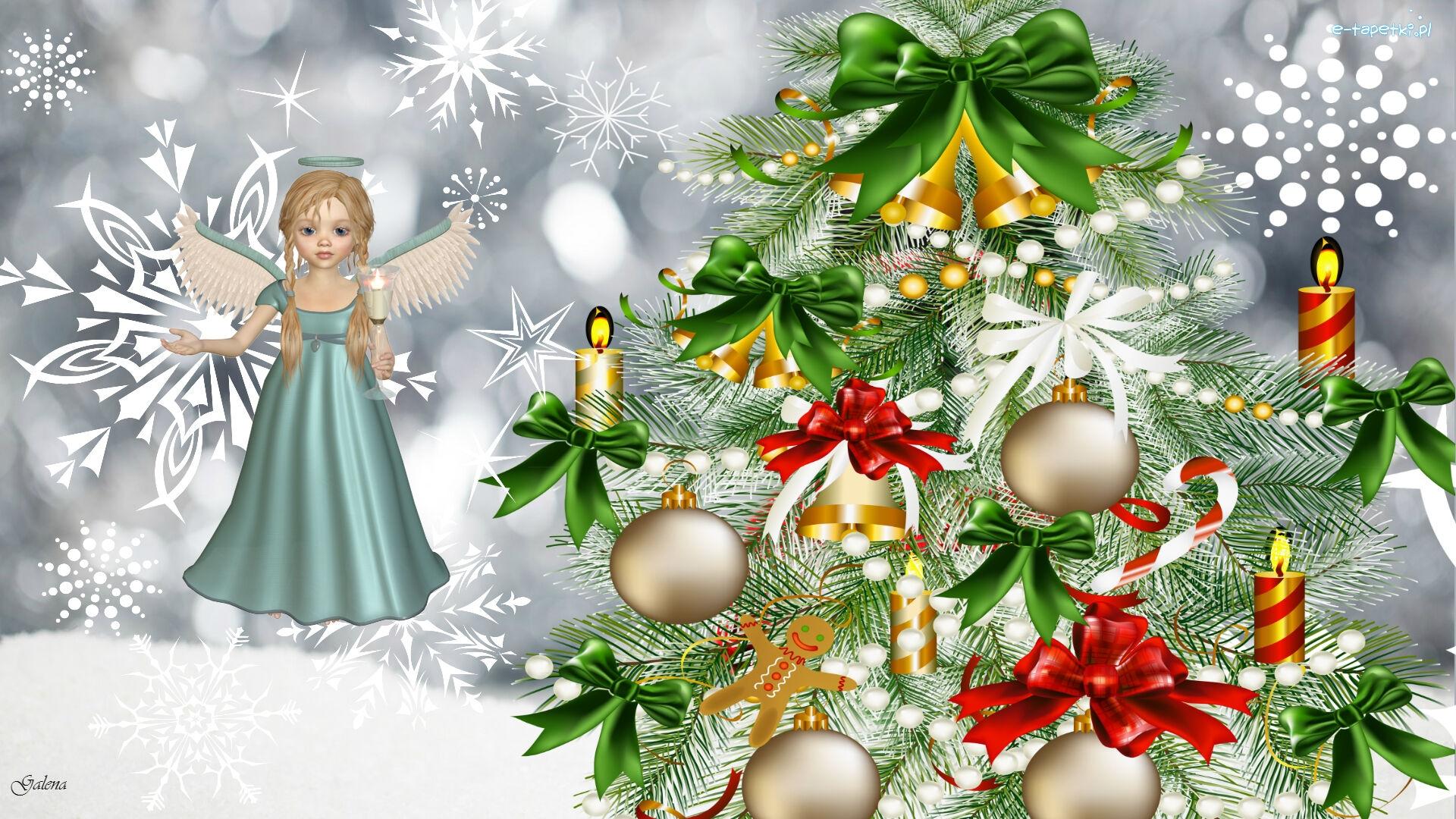 Anioł, Choinka, Boże Narodzenie, Grafika 2D