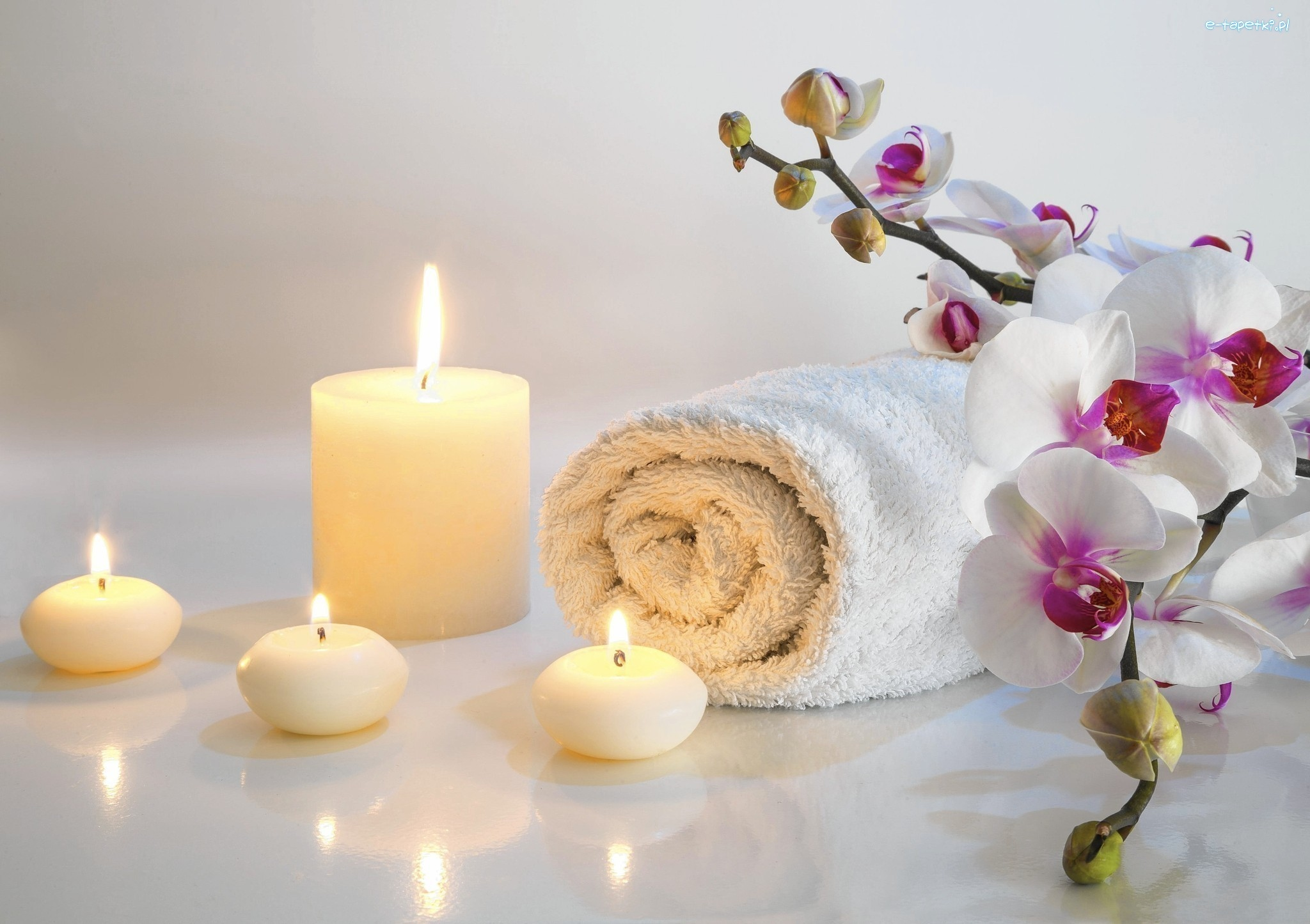 Kwiaty, SPA, Kompozycja, Świece, Ręcznik, Storczyki