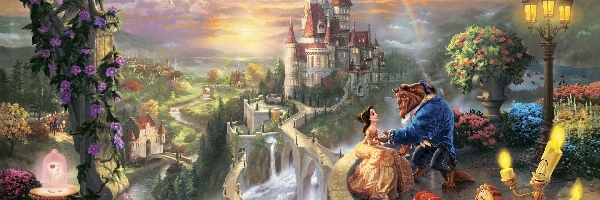 Piękna i Bestia, Obraz, Thomas Kinkade, Bajka, Beauty and the Beast